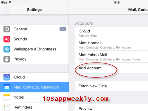 how to add an email account to my ipad pro