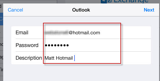 Hotmail password iphone backup
